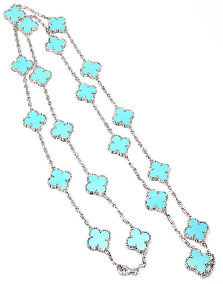 Van Cleef & Arpels Turquoise Alhambra White Gold Necklace 5