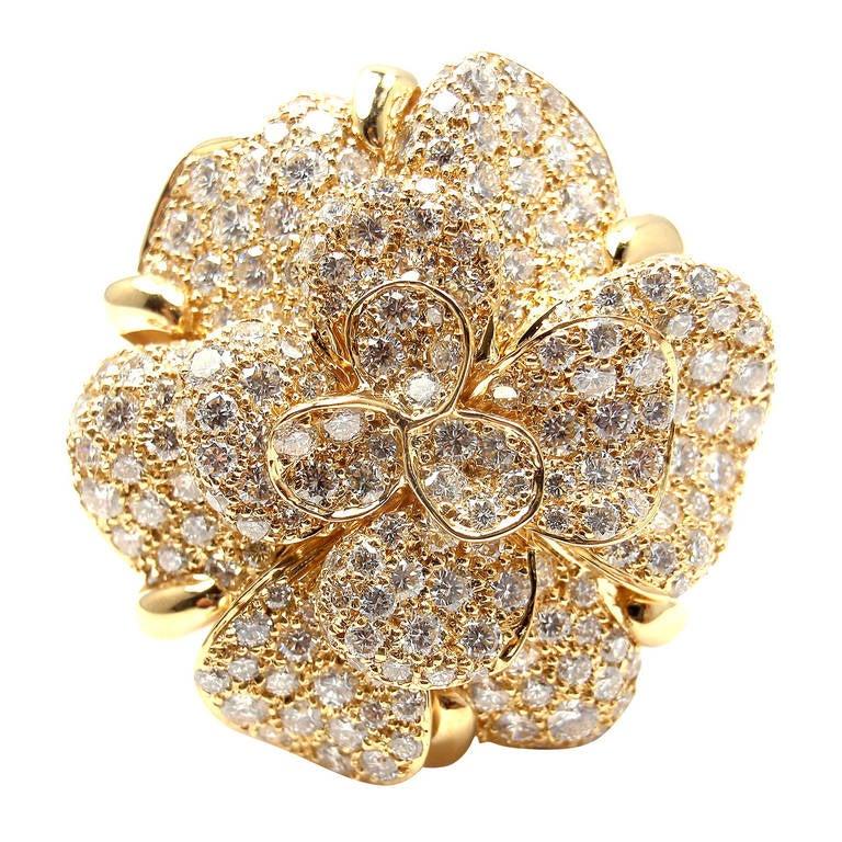 Chanel diamond yellow gold large camellia flower ring at 1stdibs chanel diamond yellow gold large camellia flower ring for sale mightylinksfo