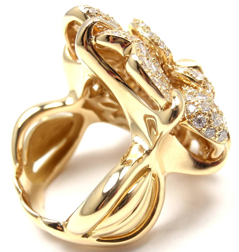 Chanel diamond yellow gold large camellia flower ring at 1stdibs chanel diamond yellow gold large camellia flower ring in as new condition for sale in southampton mightylinksfo
