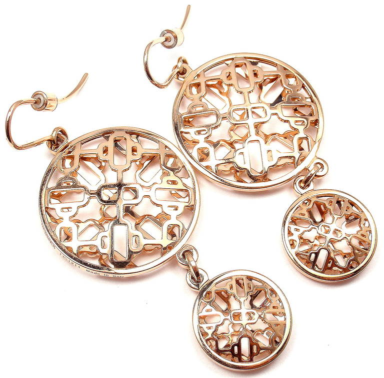 563bfa094 ... where can i buy hermes chaine dancre passerelle rose gold long earrings  in new condition for