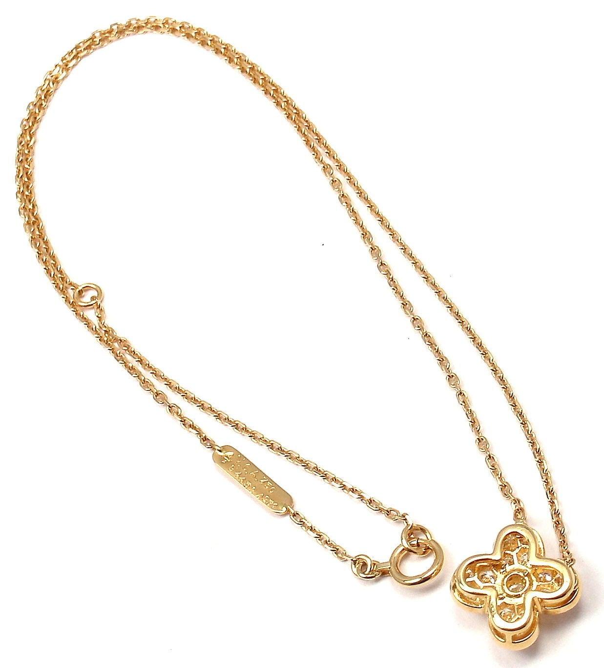 Clover Necklace Van Cleef: Van Cleef And Arpels Trefle Diamond Yellow Gold Alhambra