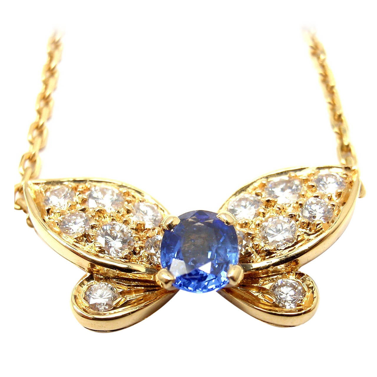 Van Cleef & Arpels Sapphire Diamond Yellow Gold Butterfly Necklace