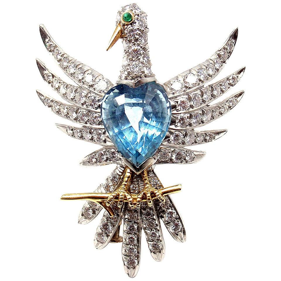 163c31874 Schlumberger for Tiffany & Co. Phoenix Bird Diamond Aquamarine Platinum Pin  For Sale
