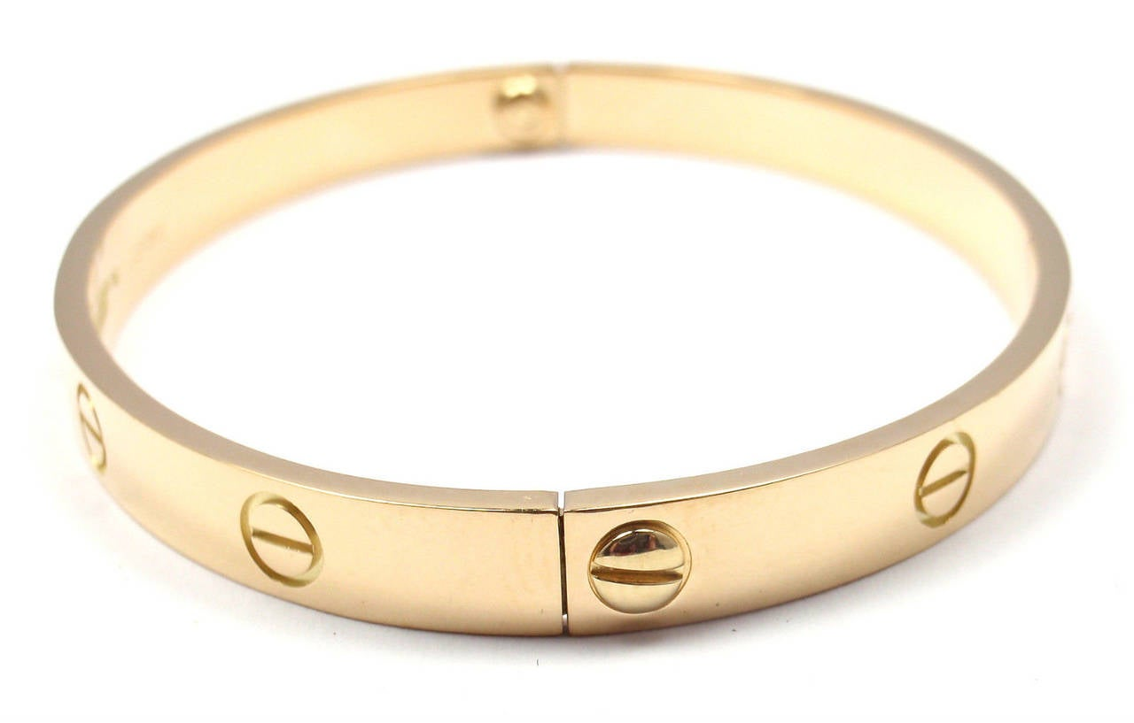 cartier bracelet sizes cartier yellow gold bangle bracelet size 19 at 1stdibs 5971