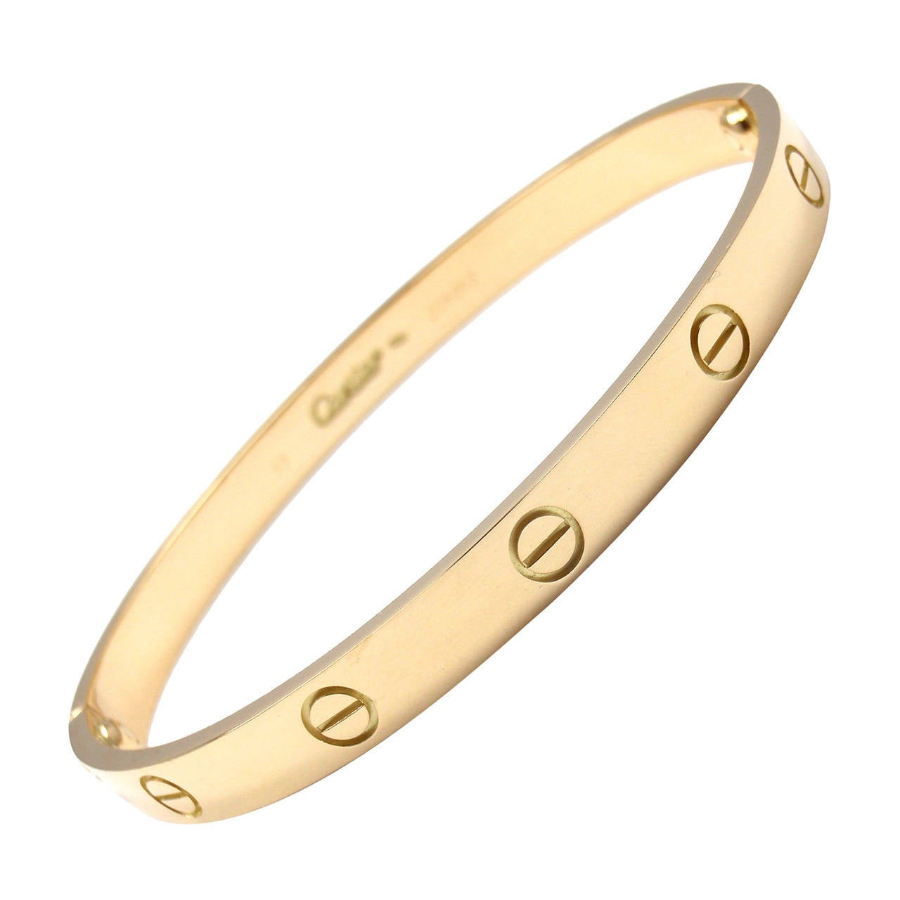 Cartier Love Yellow Gold Bangle Bracelet Size 19 For