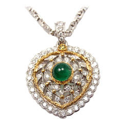 Buccellati Emerald Diamond Yellow and White Gold Heart Necklace