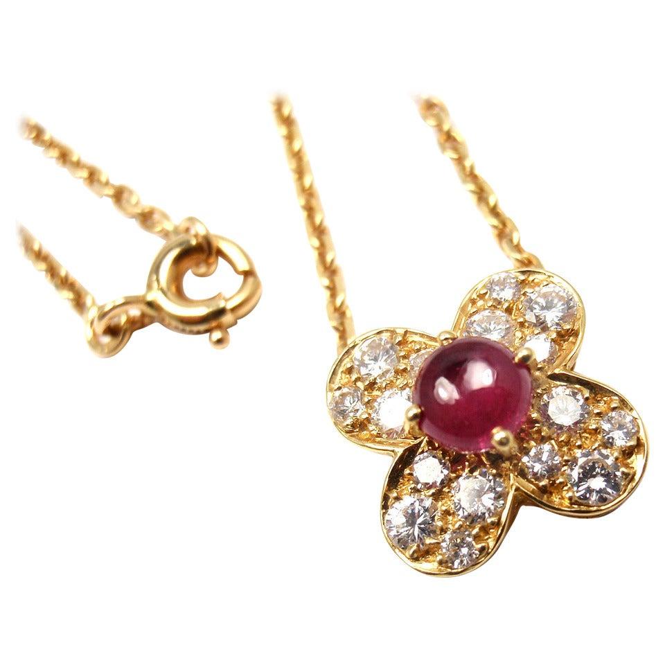 Van Cleef & Arpels Trefle Alhambra Diamond Ruby Clover Yellow Gold Necklace