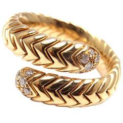 Bulgari Spiga Diamond Snake Yellow Gold Band Ring