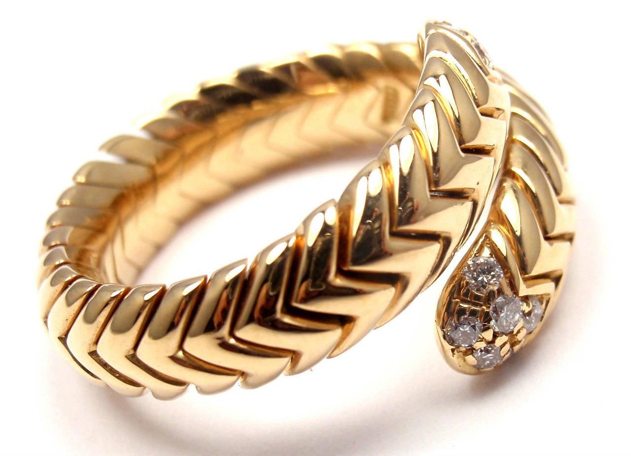 bulgari spiga diamond snake yellow gold band ring 2