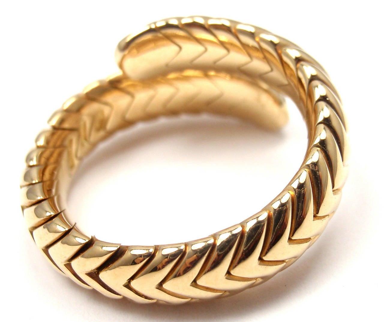 bulgari spiga diamond snake yellow gold band ring 3