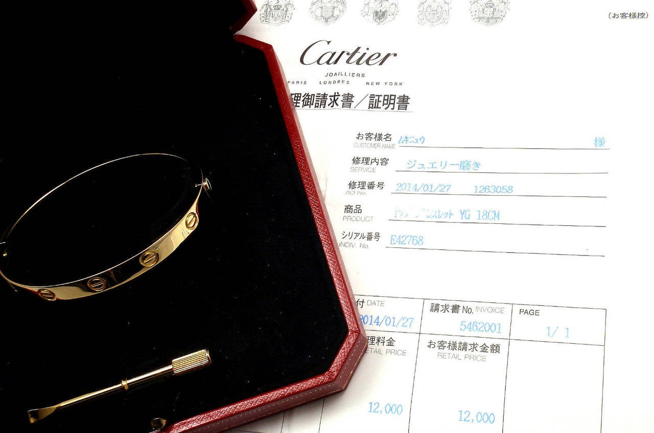 Cartier Love Yellow Gold Bangle Bracelet 5