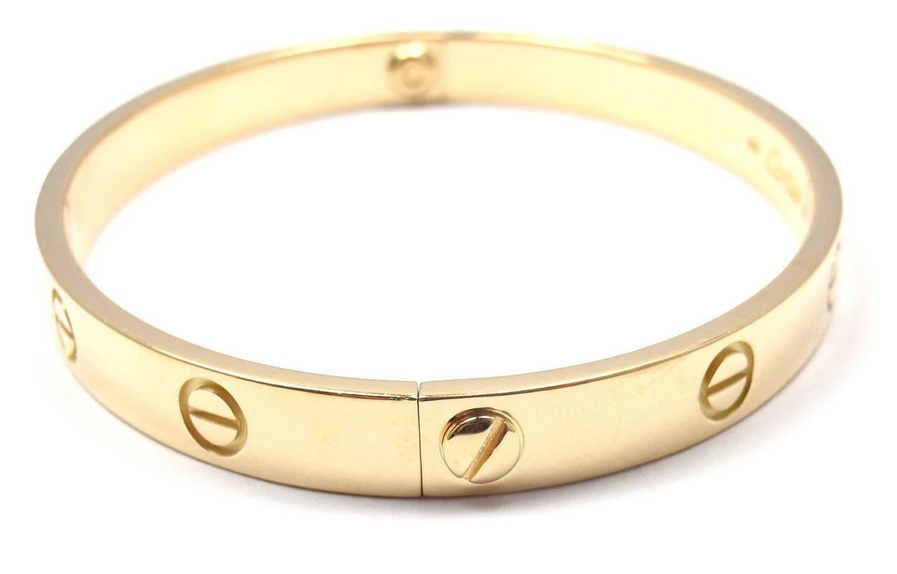 Cartier Love Yellow Gold Bangle Bracelet 6