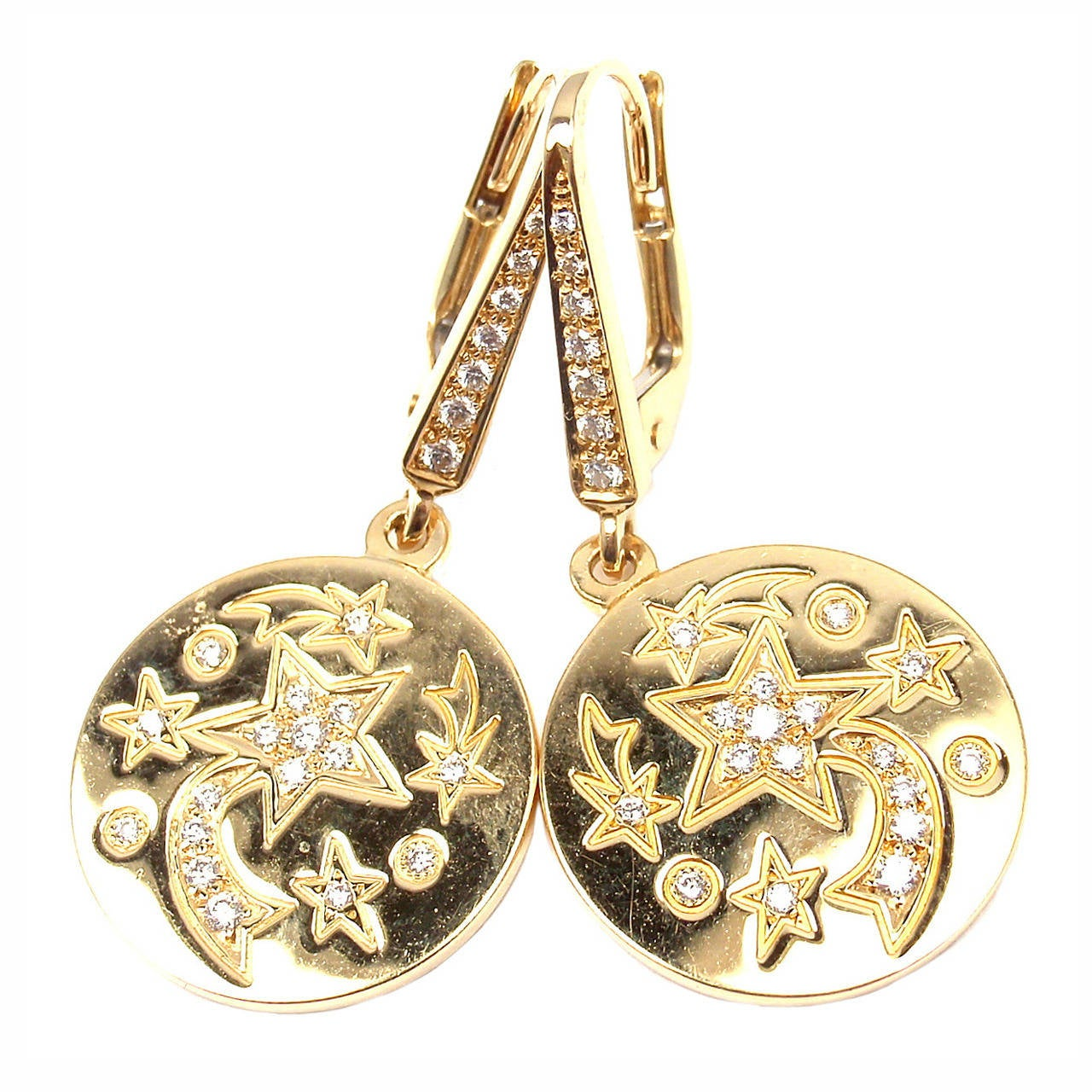 Chanel Comete Diamond Star Yellow Gold Earrings
