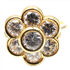 Van Cleef & Arpels Diamond Yellow Gold Fleurette Flower Ring