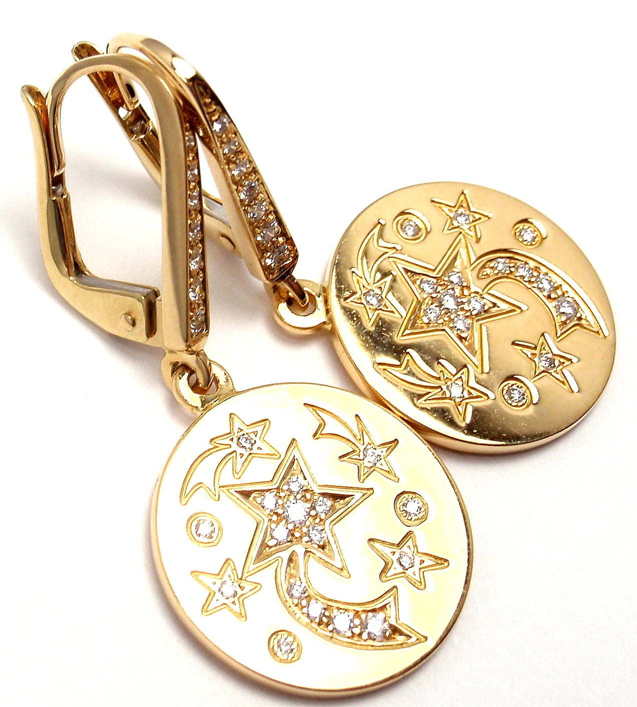 chanel comete diamond star yellow gold earrings for sale. Black Bedroom Furniture Sets. Home Design Ideas