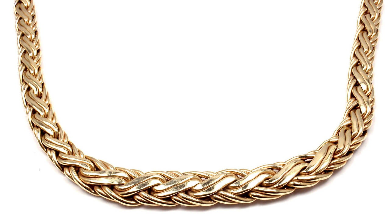 Tiffany & Co. Russian Weave Chain Link Yellow Gold Necklace In New Condition In Holland, PA