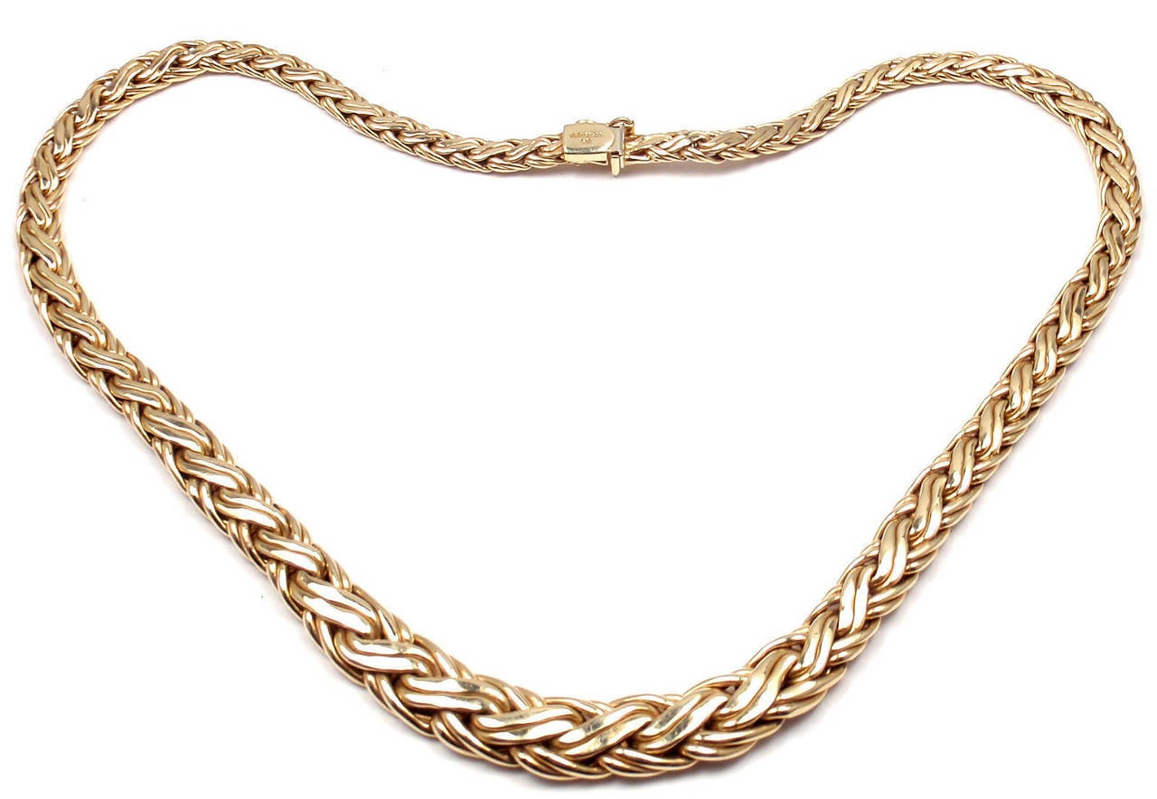 Women's Tiffany & Co. Russian Weave Chain Link Yellow Gold Necklace
