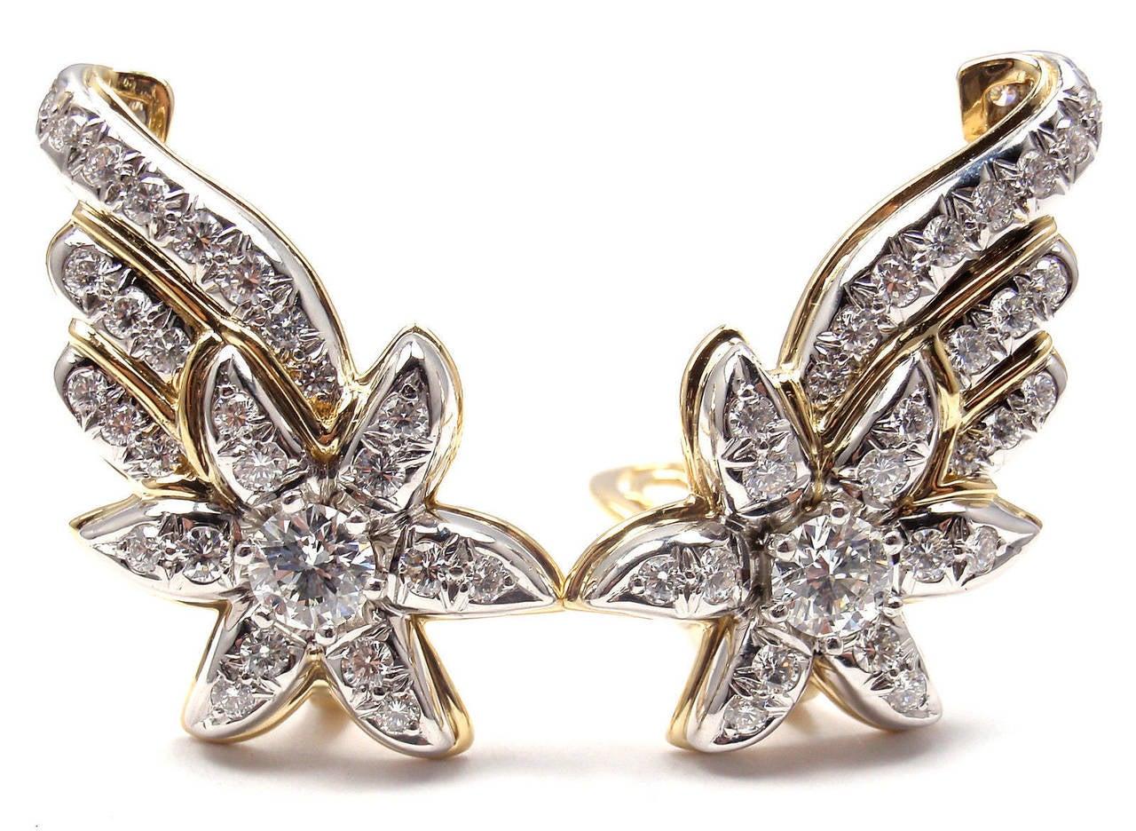 Women's Tiffany & Co. Jean Schlumberger Diamond Gold Platinum Star Earrings For Sale