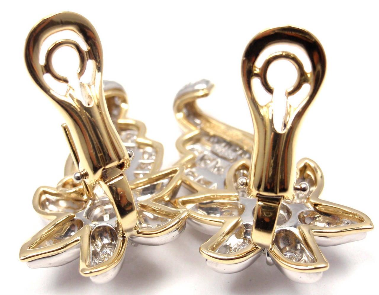 Tiffany & Co. Jean Schlumberger Diamond Gold Platinum Star Earrings For Sale 1