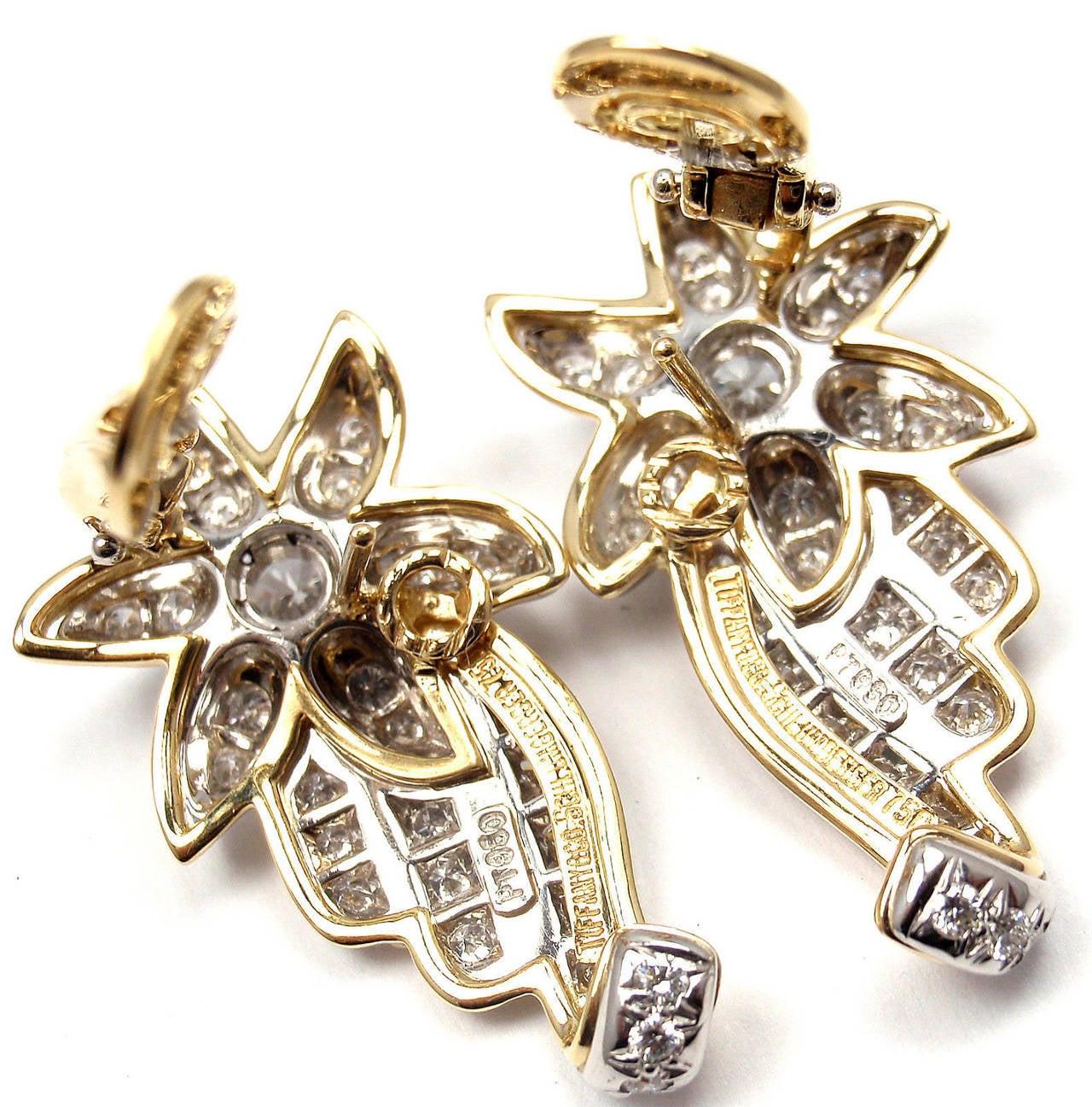 Tiffany & Co. Jean Schlumberger Diamond Gold Platinum Star Earrings For Sale 2