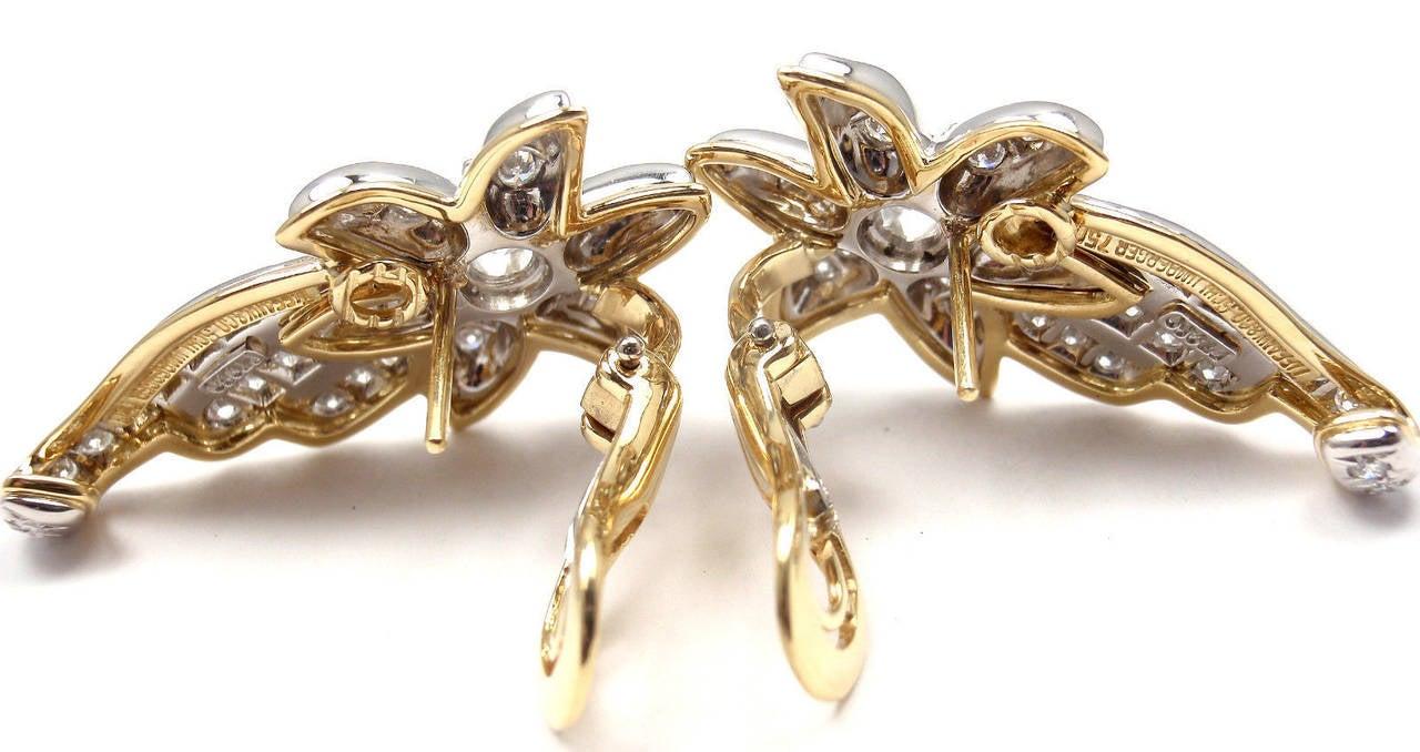 Tiffany & Co. Jean Schlumberger Diamond Gold Platinum Star Earrings For Sale 3