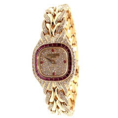 Patek Philippe Lady's Yellow Gold, Diamond and Ruby La Flamme Bracelet Watch