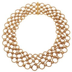 Verdura Gold Lace Link Choker Necklace