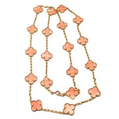 Van Cleef & Arpels Coral Vintage Alhambra Yellow Gold Necklace