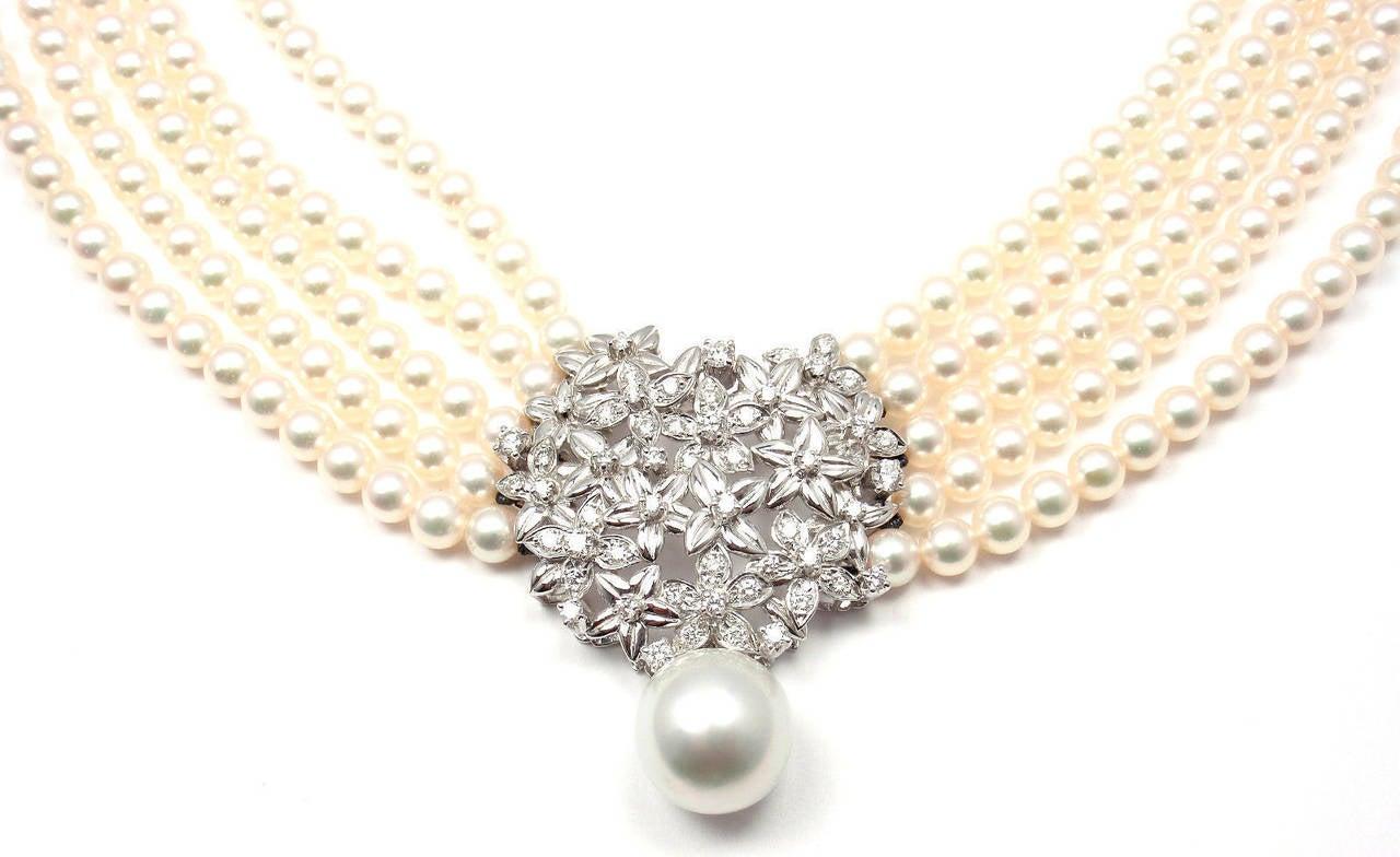 Women's Mikimoto Five Strand Pearl Diamond White Gold Choker Necklace For Sale