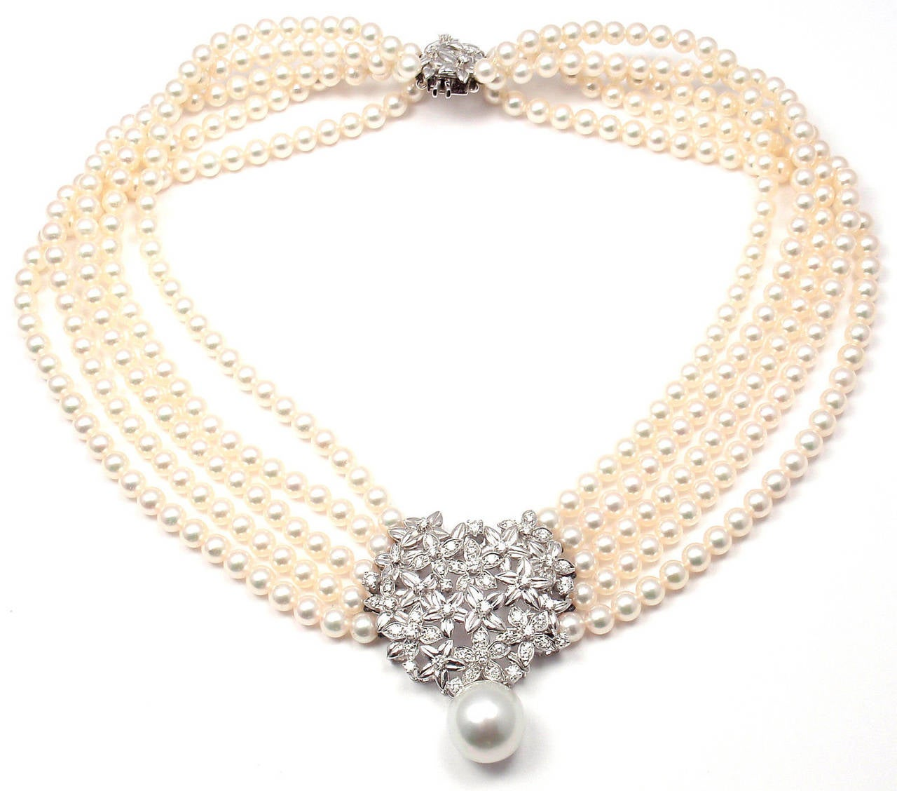 in null jewelry metallic lyst gallery product pearl golden diamond necklace assael
