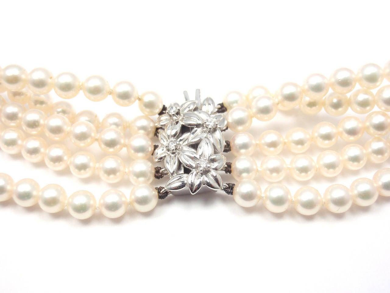 Mikimoto Five Strand Pearl Diamond White Gold Choker Necklace For Sale 2