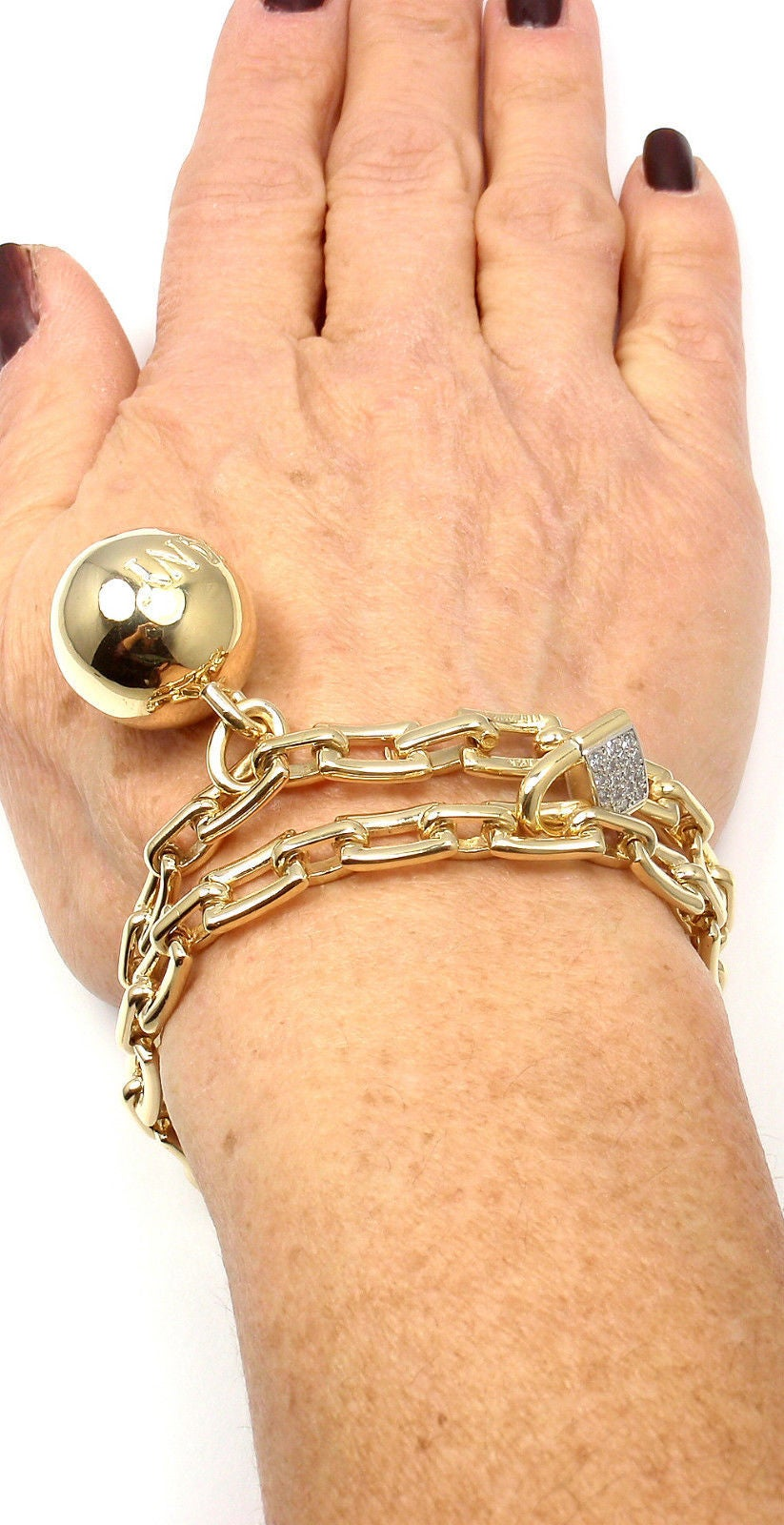 Tiffany & Co. Diamond Ball and Chain Yellow Gold Link Bracelet For Sale 2