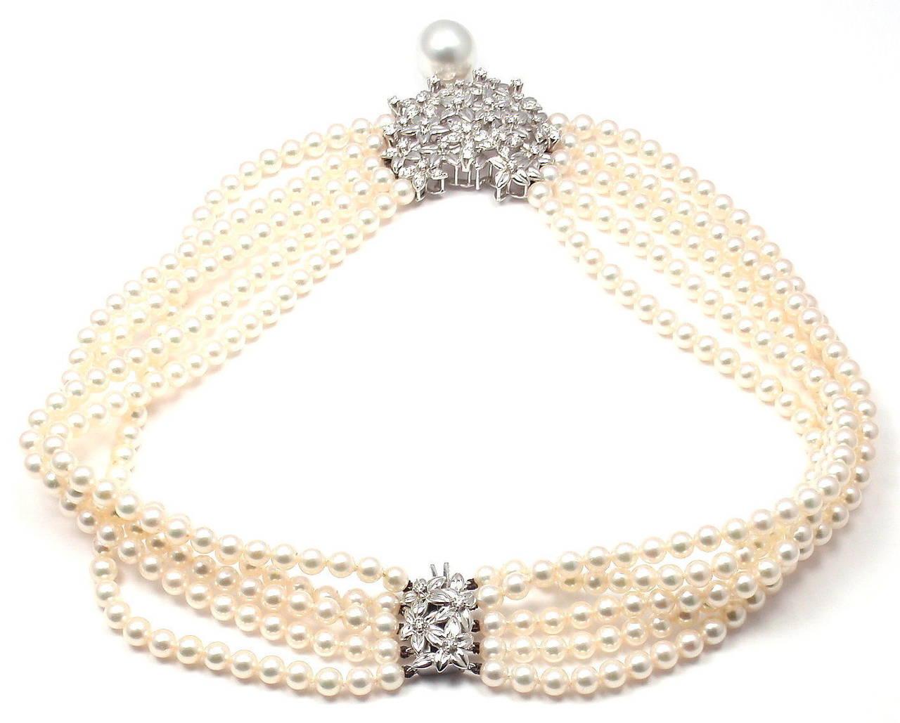 Mikimoto Five Strand Pearl Diamond White Gold Choker Necklace For Sale 1