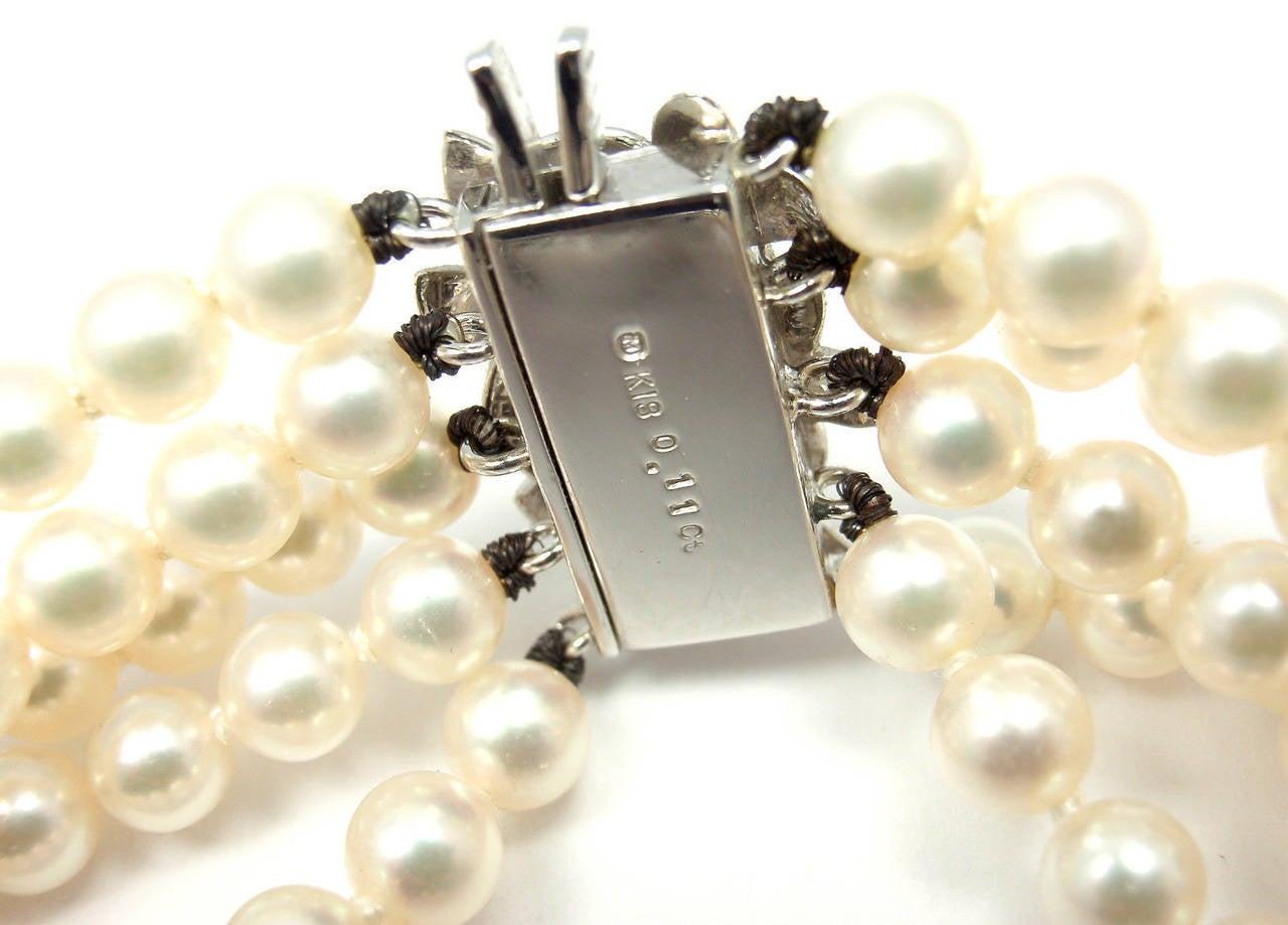 Mikimoto Five Strand Pearl Diamond White Gold Choker Necklace For Sale 3