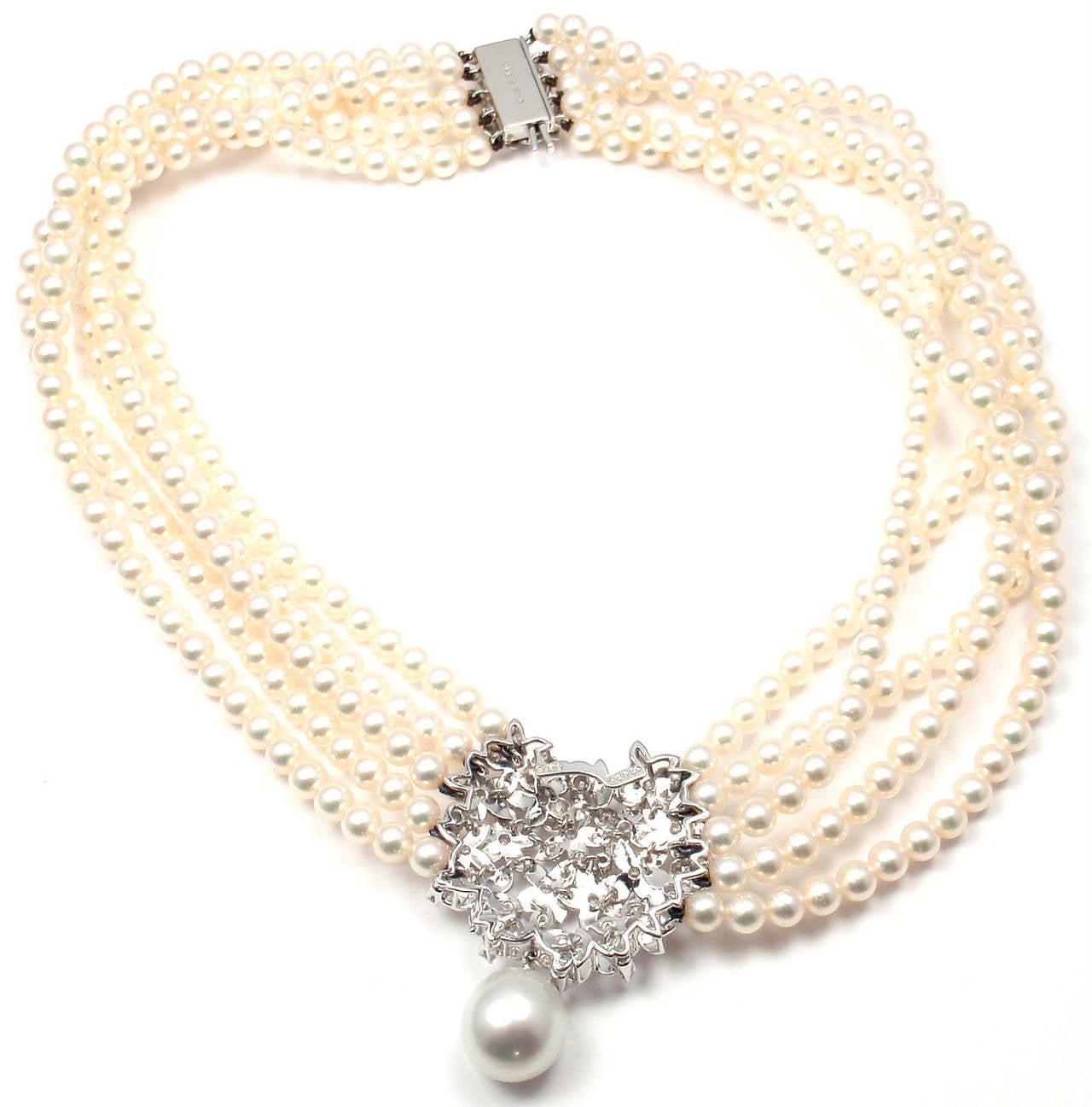 Mikimoto Five Strand Pearl Diamond White Gold Choker Necklace For Sale 4