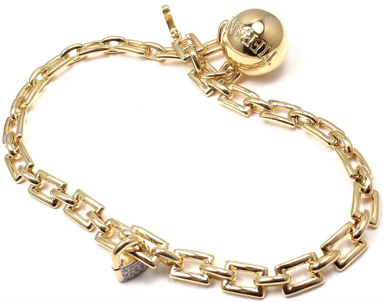 Tiffany & Co. Diamond Ball and Chain Yellow Gold Link Bracelet For Sale 4