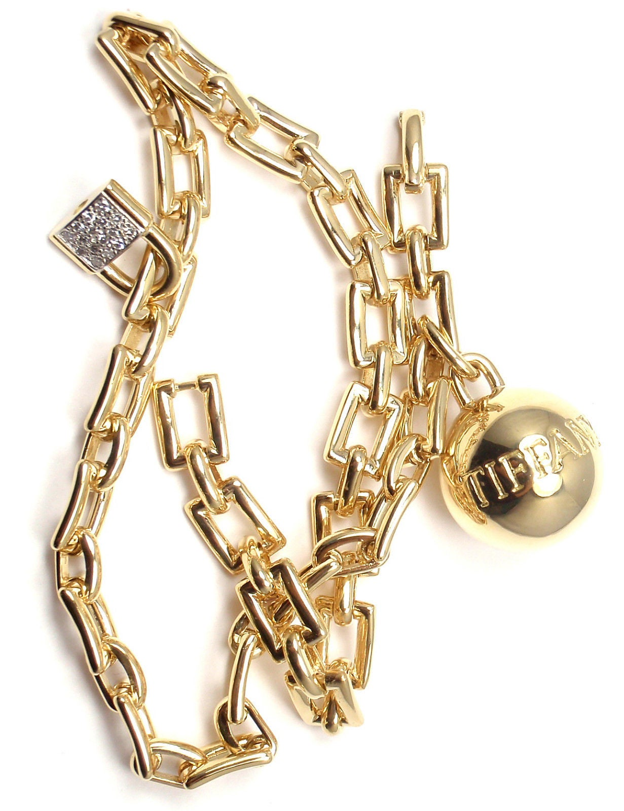 Tiffany & Co. Diamond Ball and Chain Yellow Gold Link Bracelet For Sale 5