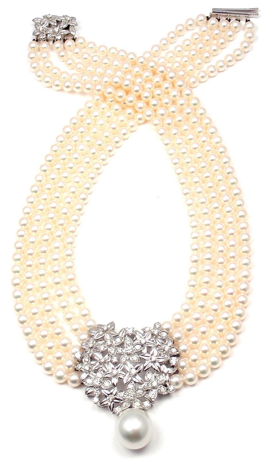 Mikimoto Five Strand Pearl Diamond White Gold Choker Necklace For Sale 6