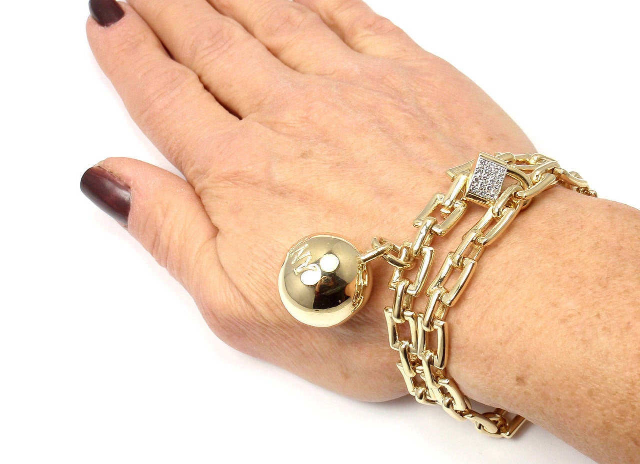 Tiffany & Co. Diamond Ball and Chain Yellow Gold Link Bracelet For Sale 6