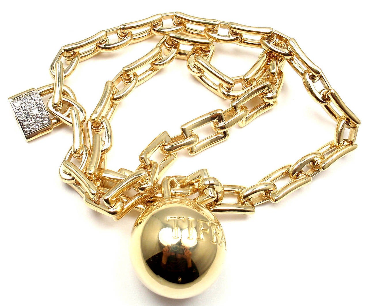 18k Yellow Gold Diamond Link Ball & Chain Bracelet by ]