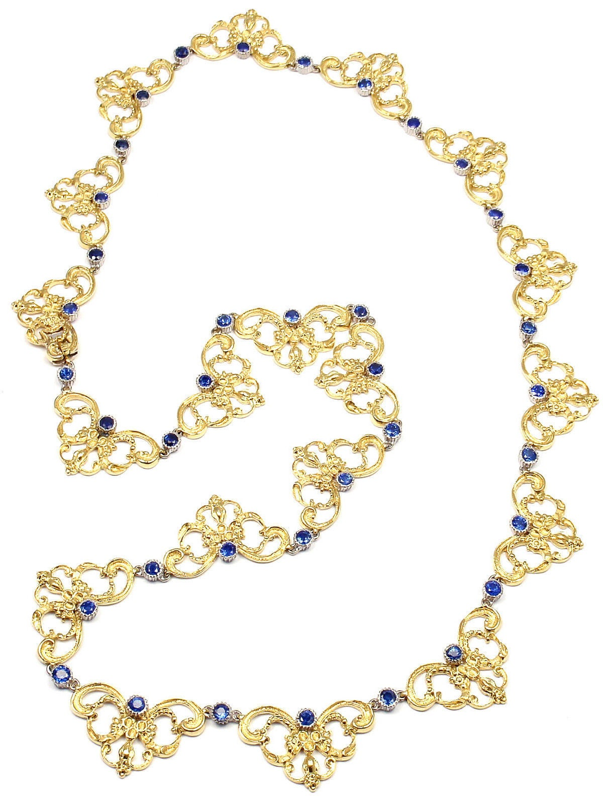 "18k Yellow Gold Sapphire 24"" Necklace by Buccellati.