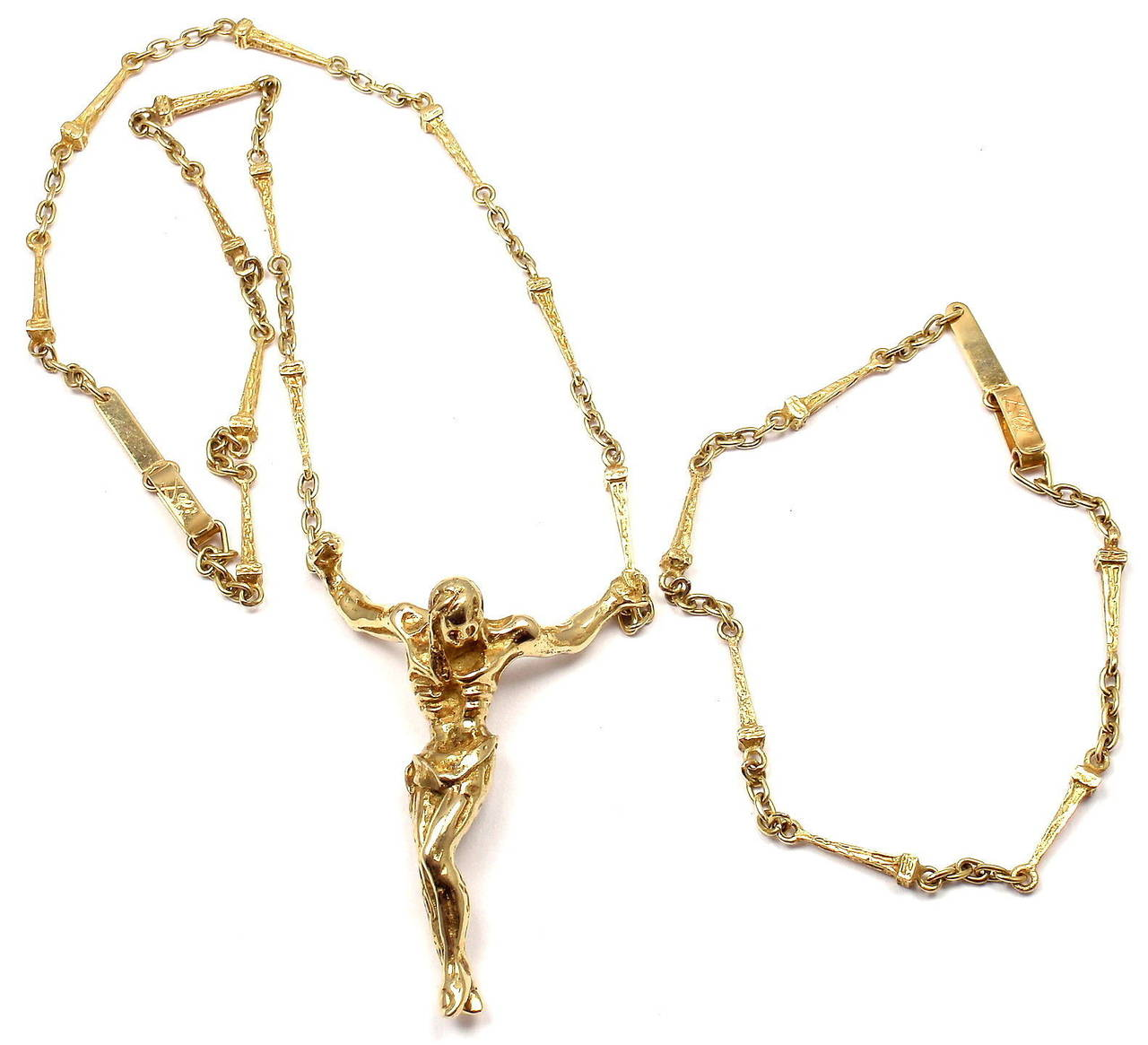 55ace7fcef2 Salvador Dali Large Christ Saint John On The Cross Yellow Gold Bracelet  Necklace In New Condition
