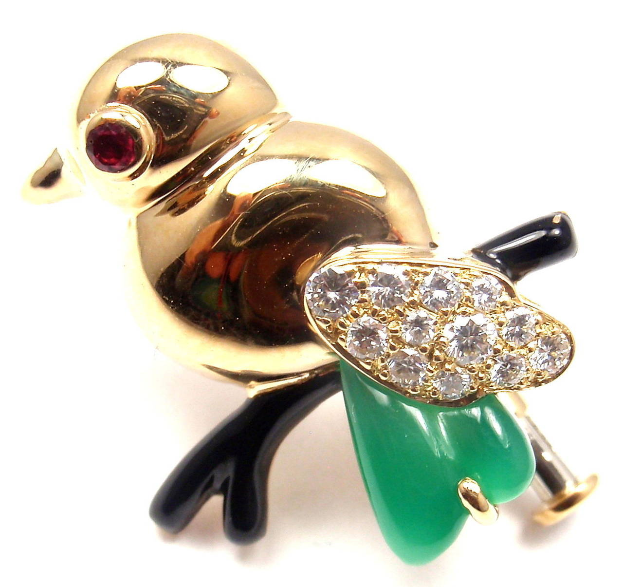 Cartier Onyx Ruby Chalcedony Diamond Set of Two Yellow Gold Bird Pins Brooches 3