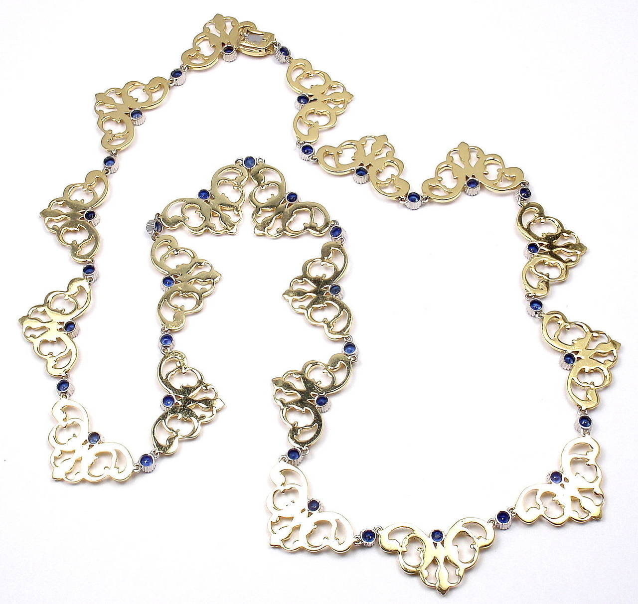 Women's Buccellati Sapphire Gold 24 Inch Long Necklace For Sale