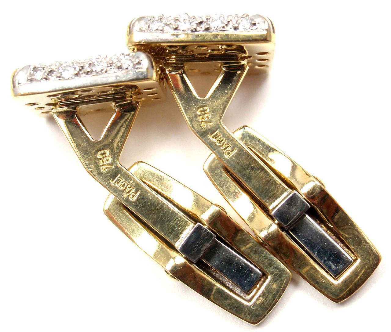 piaget diamond yellow and white gold cufflinks at 1stdibs