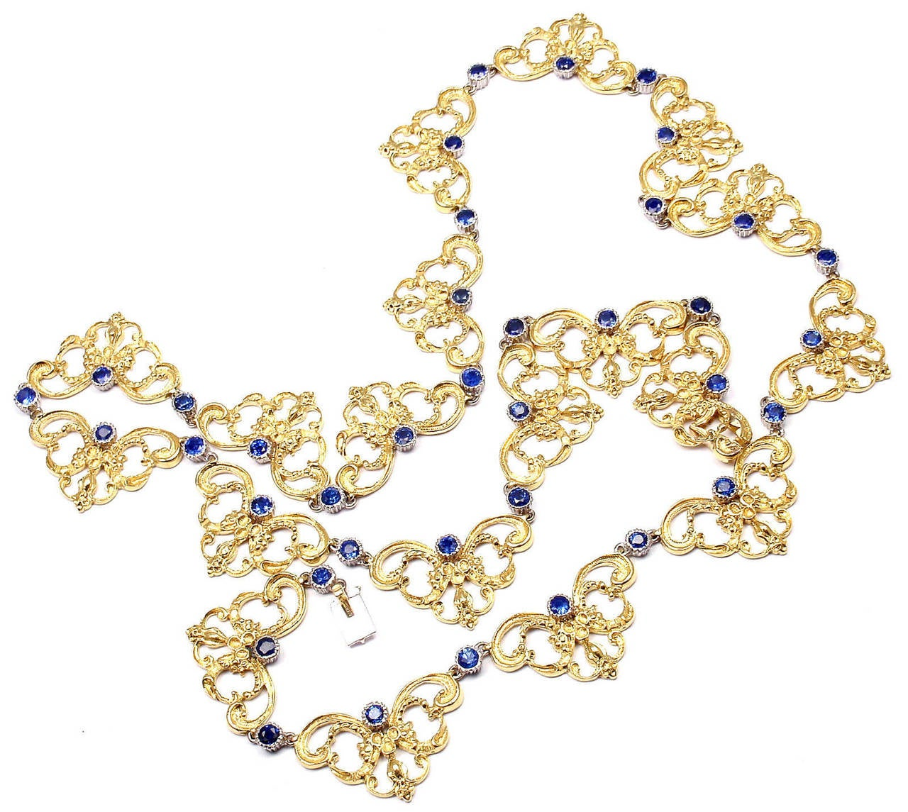 Buccellati Sapphire Gold 24 Inch Long Necklace For Sale 1