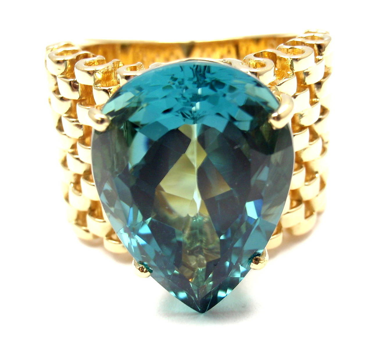 carla amorim large blue topaz yellow gold ring at