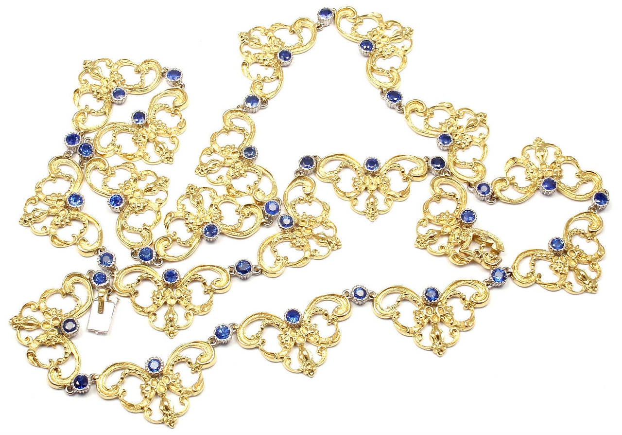 Buccellati Sapphire Gold 24 Inch Long Necklace For Sale 3
