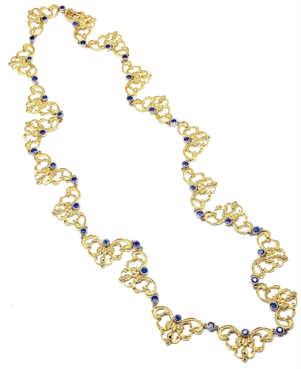 Buccellati Sapphire Gold 24 Inch Long Necklace In As New Condition For Sale In Southampton, PA