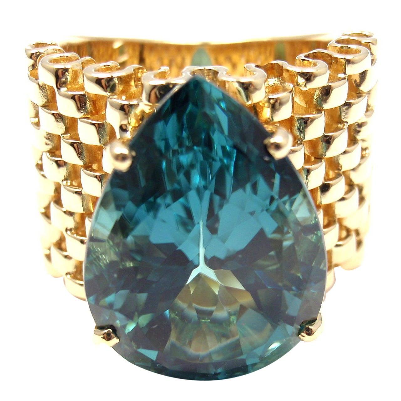 Carla Amorim Large London Blue Topaz Yellow Gold Ring At 1stdibs